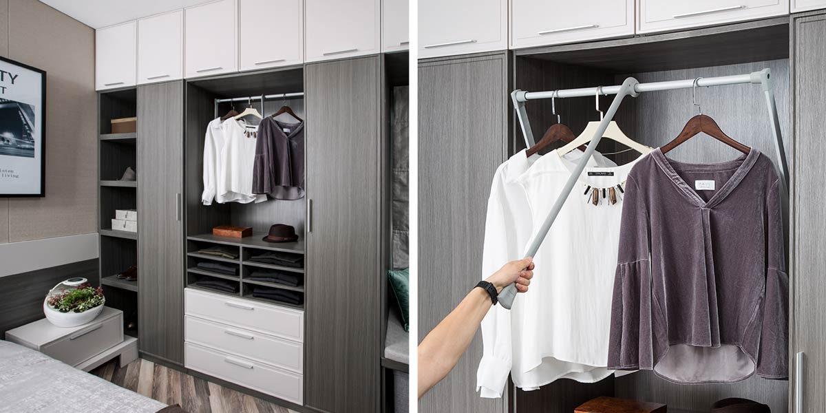 Hinged Wardrobe with Open Shelves PLYP17026-055
