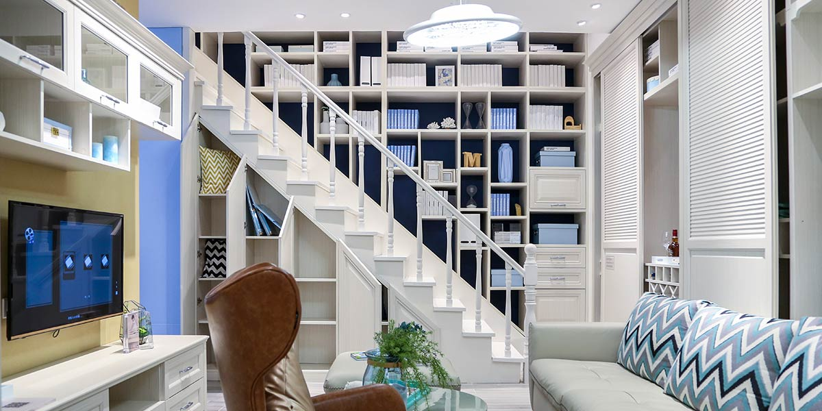 Modern design white staircase bookshelf SG0251608