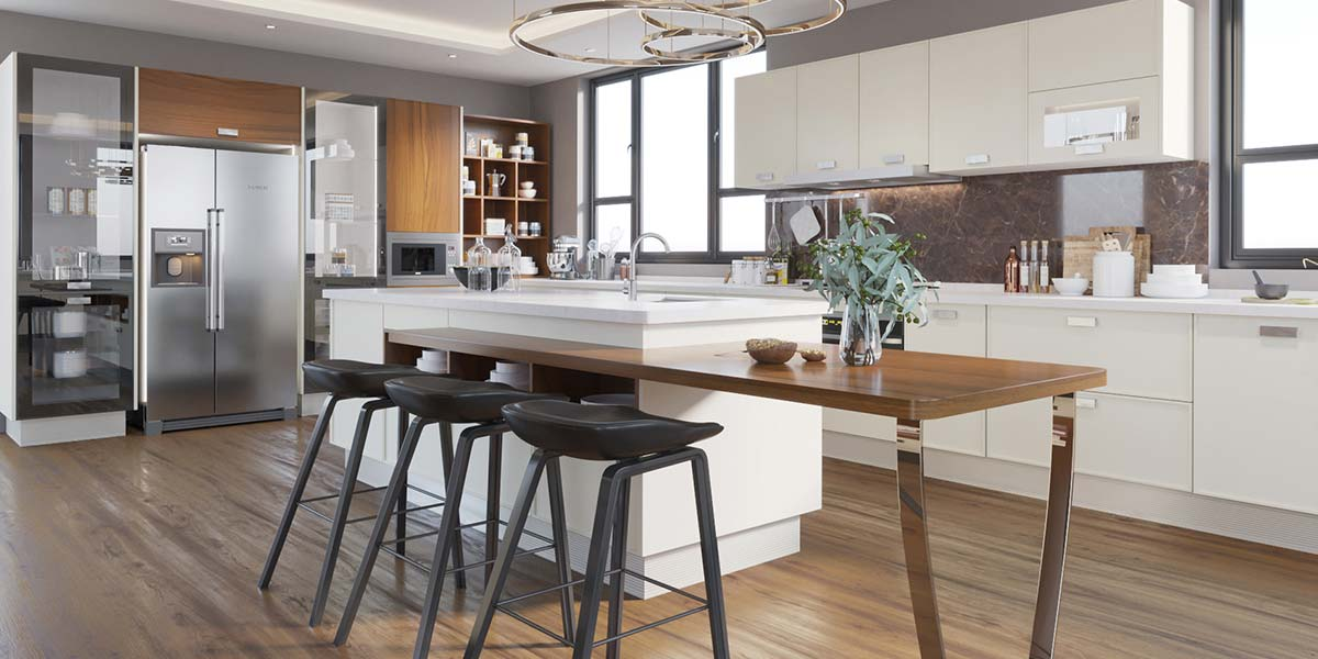 Social Large Lacquer Kitchen With Island PLYP190701