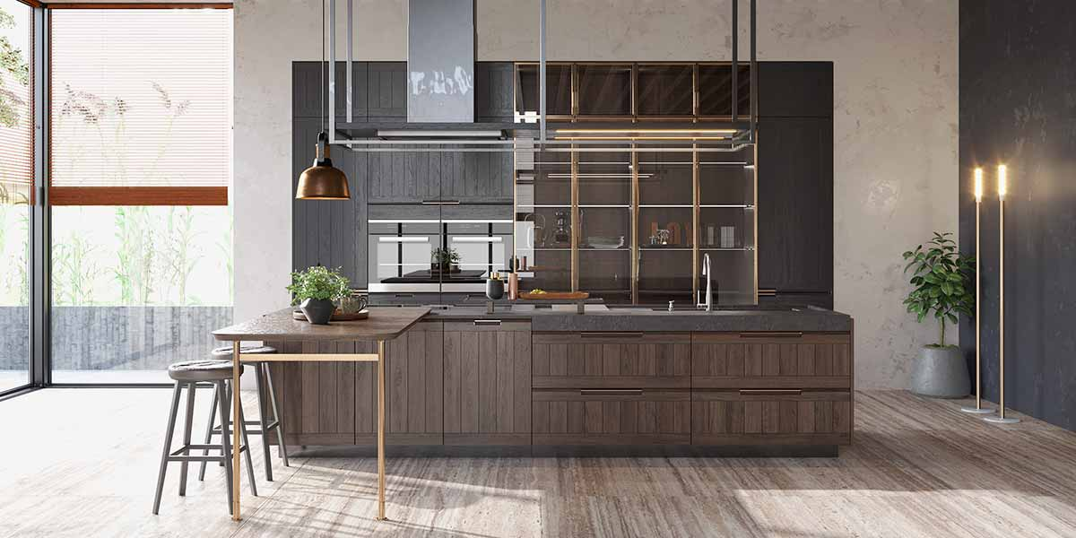 Solid Wood Rustic Kitchen Cabinet with an Island PLCC20004