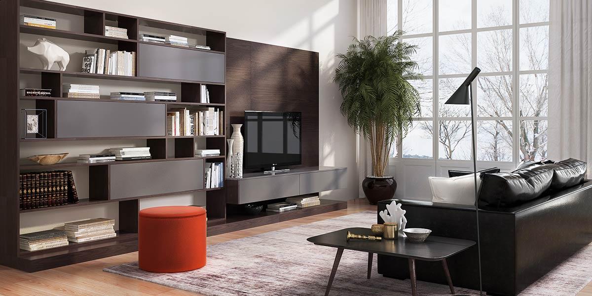 Contemporary Design Dark Wood TV Bookcase TV17-A02