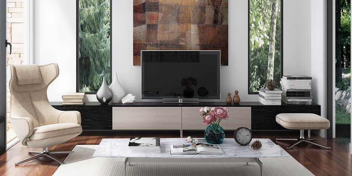 Black Laminate and Light Wood Grain PVC Long TV Stand TV17-HPL01