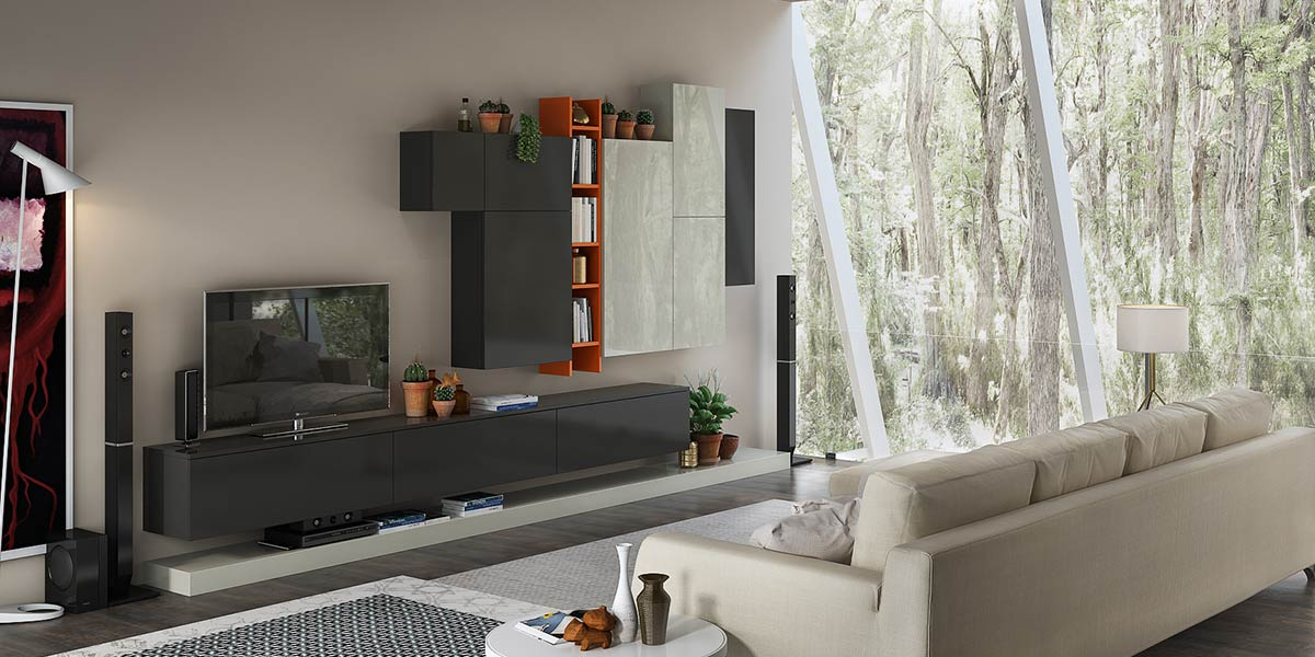 White and Gray Lacquer TV Wall Unit TV17-L01