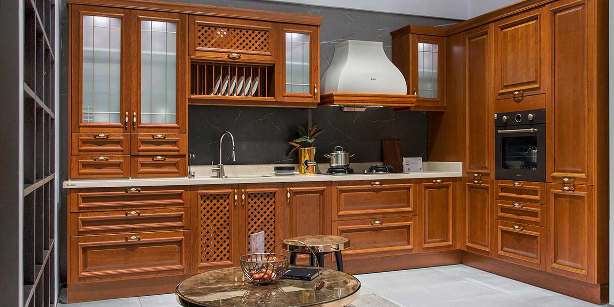 Traditional Neutral Shades Solid Wood Kitchen PLCC19132