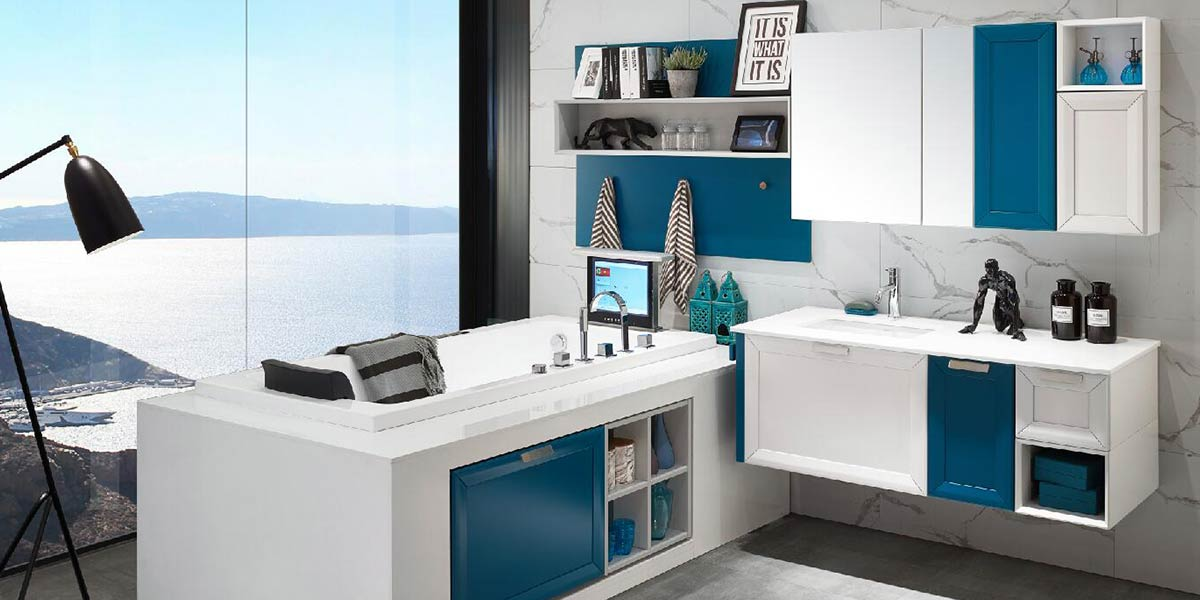Transitional Blue Lacquer Bathroom Vanity PLWY17102