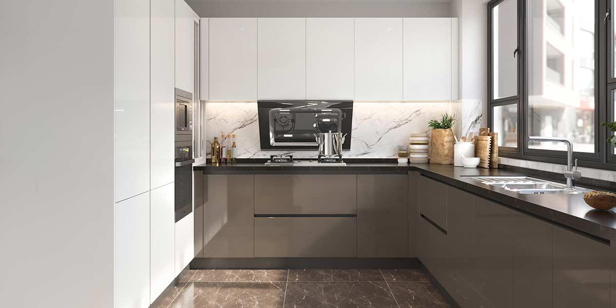 U-Shape Handleless Laminate Kitchen Cabinet OP20-HPL03