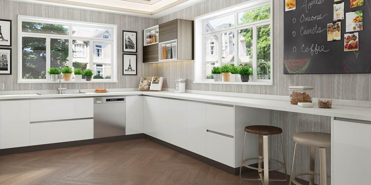 Large U-Shaped White Laminate Kitchen OP20-HPL004