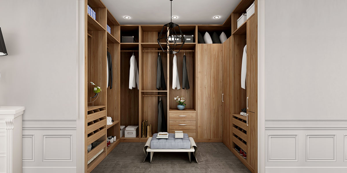 U-shaped Wood Grain Walk-in Closet of Best Design YG16-M09
