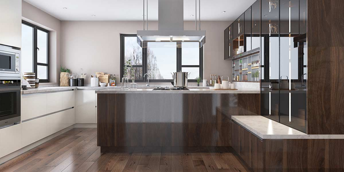 Wood Brown High Gloss UV-Lacquer Kitchen Cabinet OP19-L09