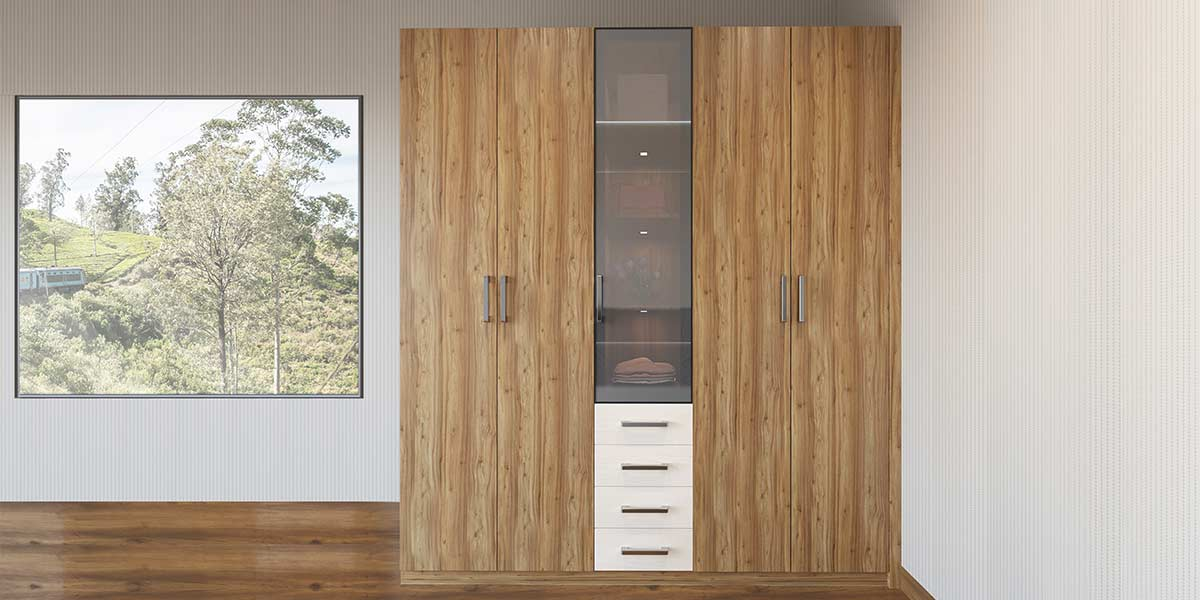 Wood Grain Double Door Hinged Wardrobe YG19-M01
