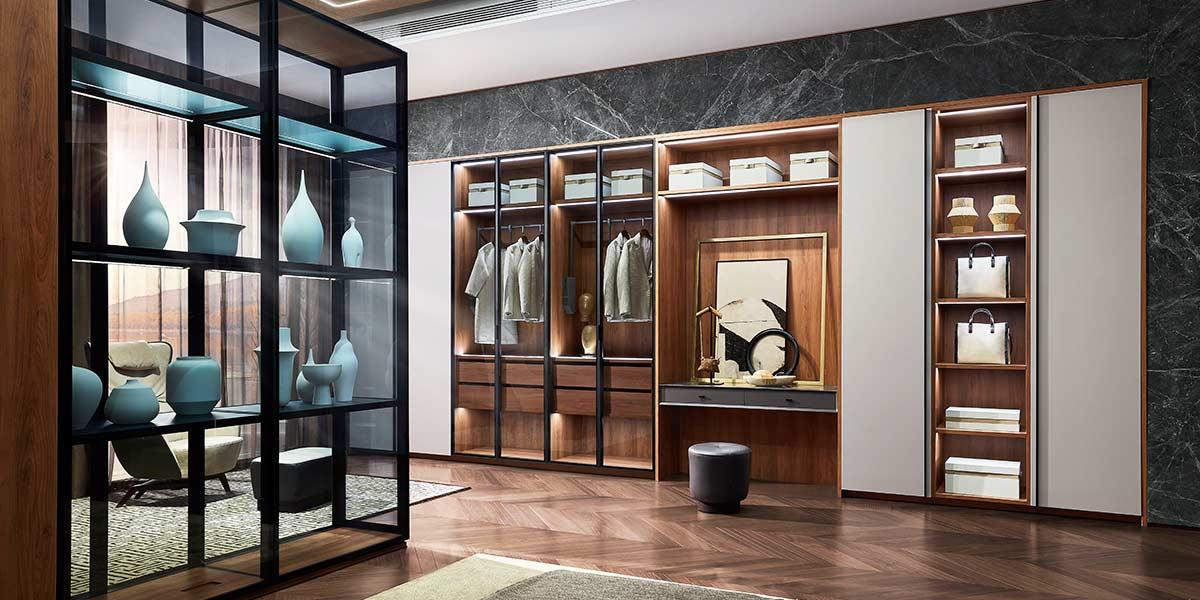 Wood Grain Melamine Wardrobe With Transparent Glass Doors YG20-M01