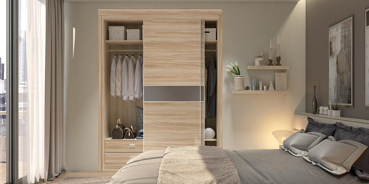 Wood Grain PVC Sliding Wardrobe YG17-HPL01