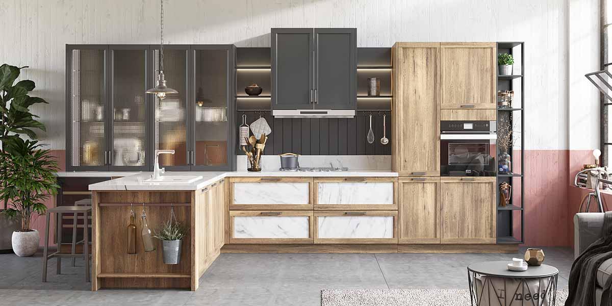 Wood Grain Thermofoil Kitchen Cabinet PLCC20052