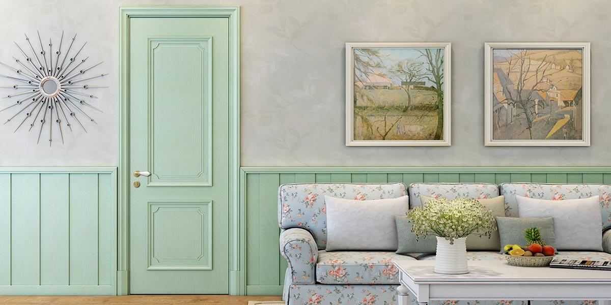 Fashion Series Green Oak Veneer Hinged Door YDJ001D