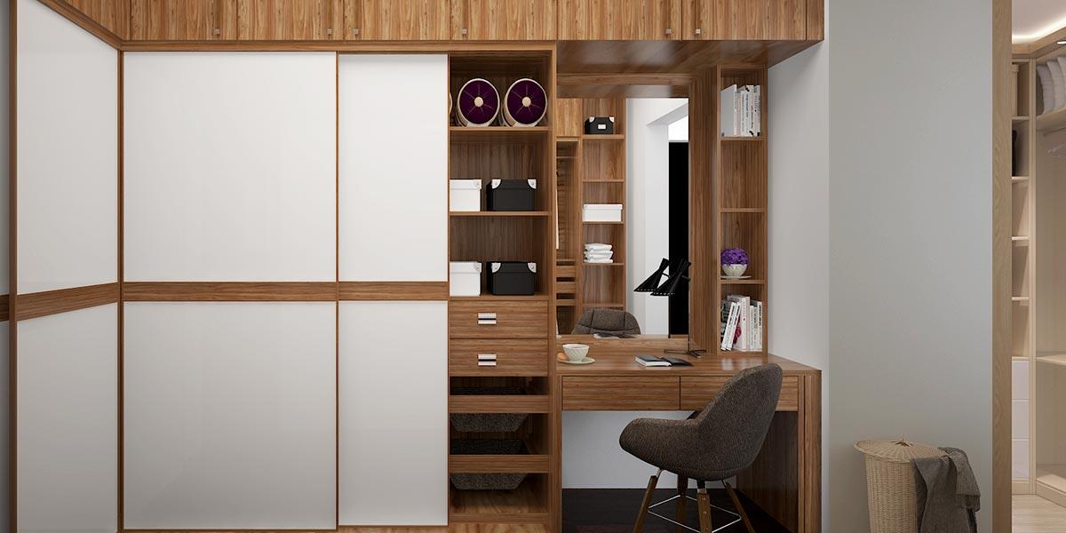 Walnut U-Shaped Wardrobe with Sliding Doors YG16-A02