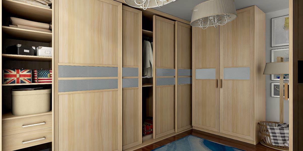 Light Wood Grain Wardrobe with Gray Glass Waist YG16-M15