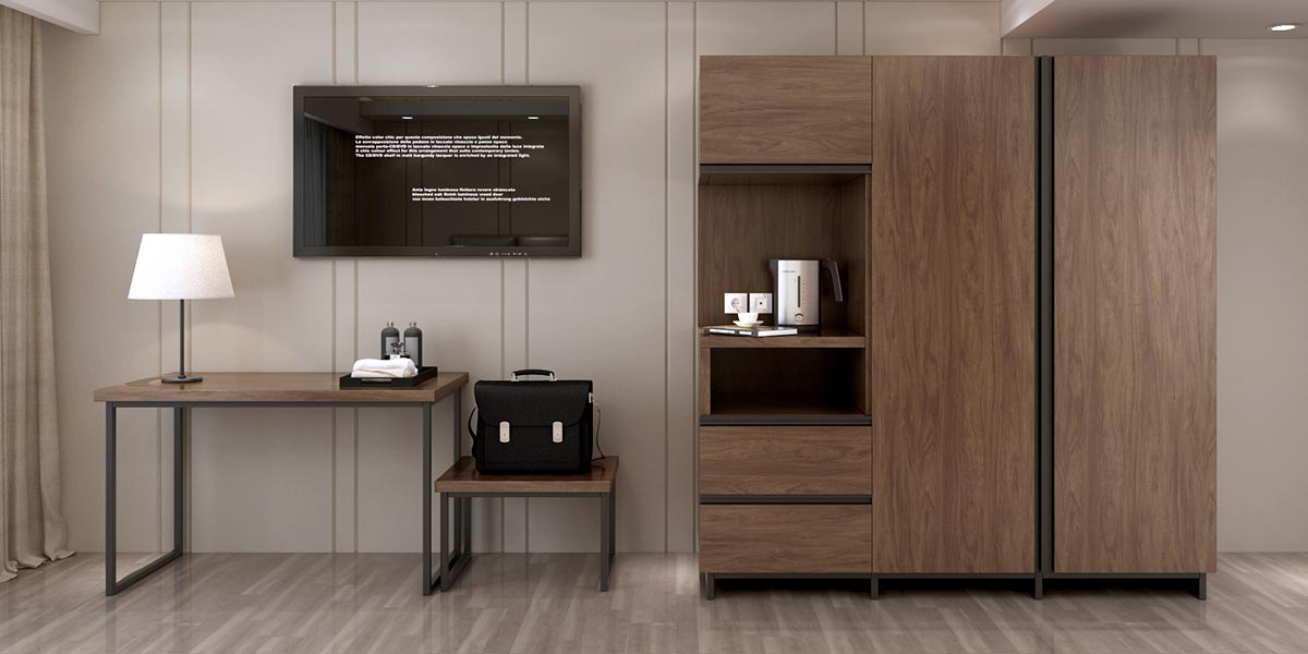 Wood Grain Laminate Hotel Wardrobe Design YG18-HPL01