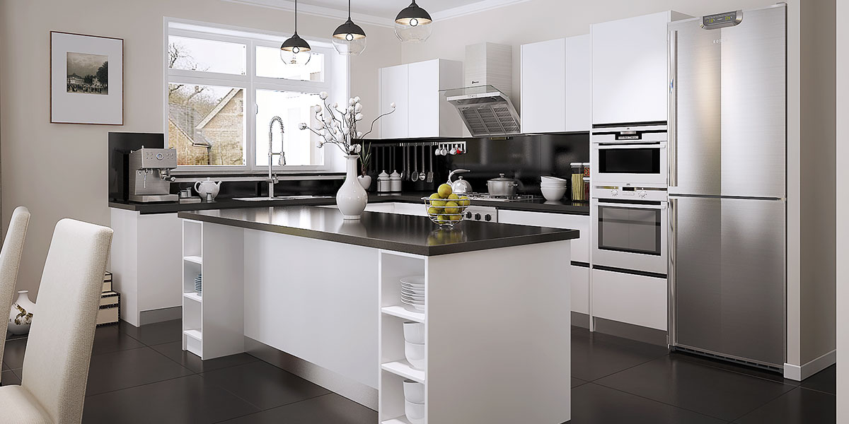 Modern Open White Lacquer Kitchen Cabinet OP15-L28