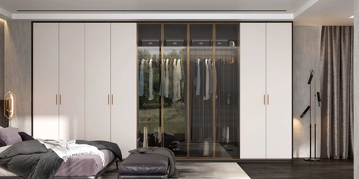 Modern Matte Lacquer Wardrobe with Glass Door YG20-L02